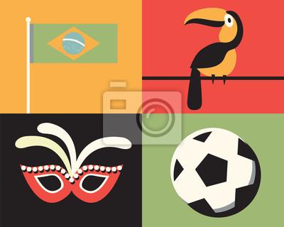 Vector illustration icon set of Brazil: flag, bird, mask, football