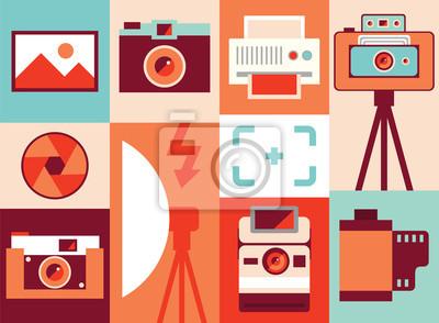 Vector illustration icon set of camera, lens, equipment, photography, printer, film