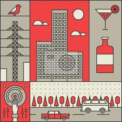 Vector illustration icon set of city