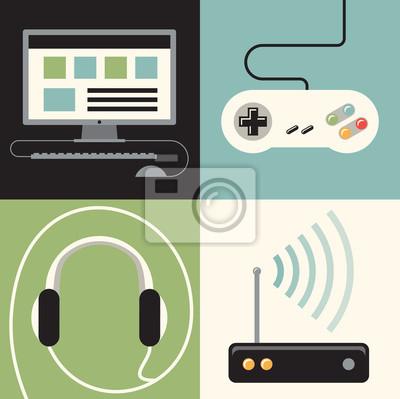 Vector illustration icon set of computer, joystick, headphones, internet