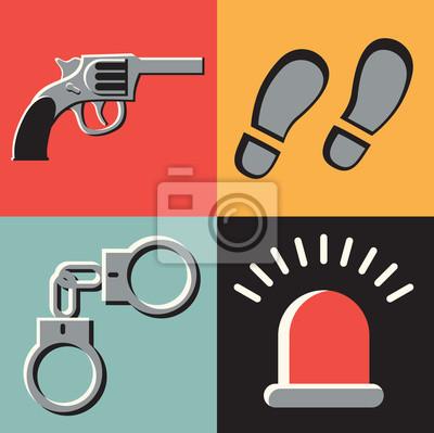 Vector illustration icon set of crime: gun, tracks, handcuffs, signal