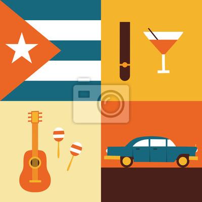 Vector illustration icon set of Cuba: flag, cigars, cocktails, guitar, maracas, retro car