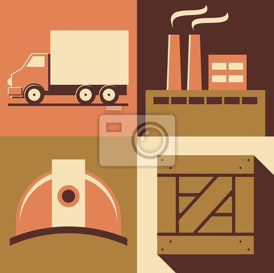 Vector illustration icon set of factory: car, plant, helmet, box