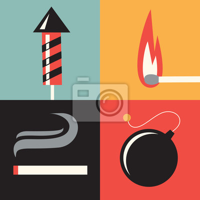 Vector illustration icon set of fire