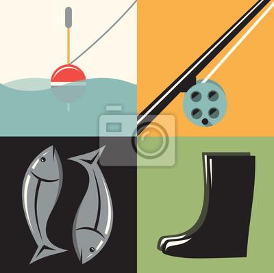 Vector illustration icon set of Fishing: float, fishing rod, fish, boots