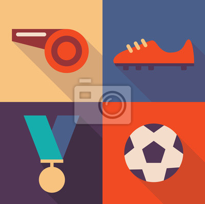 Vector illustration icon set of football: whistle, shoes, medal, ball