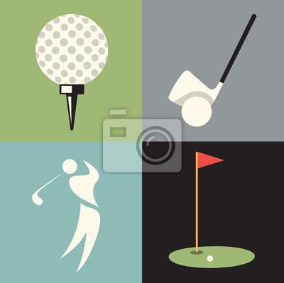 Vector illustration icon set of golf