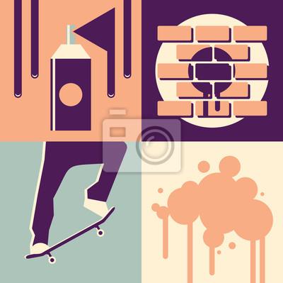 Vector illustration icon set of graffiti: paint, wall, skateboard, blot