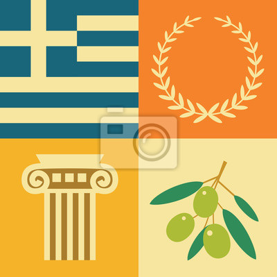 Vector illustration icon set of Greece: flag, wreath, architecture, olives