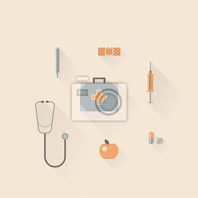Vector illustration icon set of hospital: thermometer, bandage, injection, pharmacy, stethoscope, apple, pill