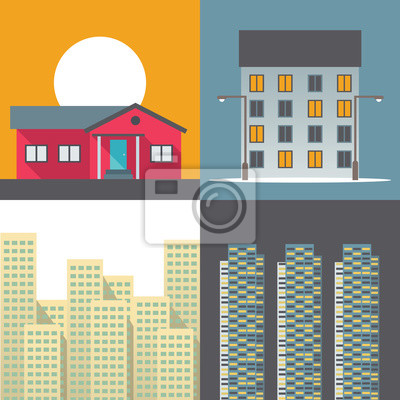 Vector illustration icon set of house
