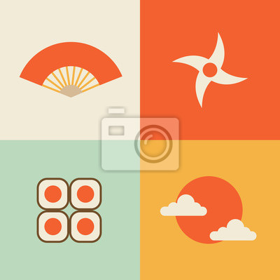 Vector illustration icon set of Japan: fan, ninja, sushi, sun
