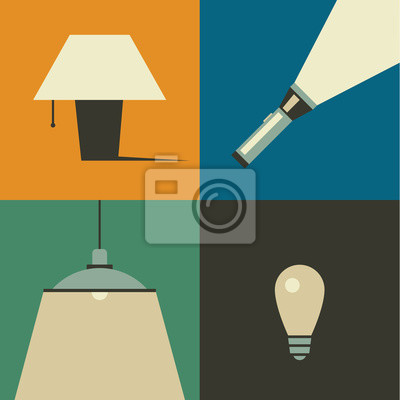 Vector illustration icon set of lamp: table lamp, flashlight, chandelier and bulb