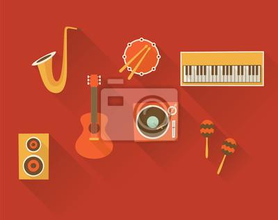 Vector illustration icon set of music: trumpet, drum, piano, guitar, turntable, maracas, speaker