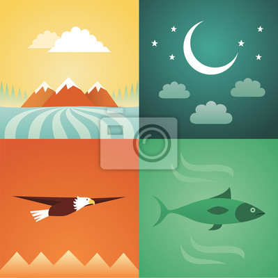 Vector illustration icon set of nature: mountain, crescent, eagle, fish