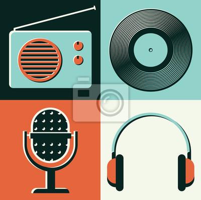 Vector illustration icon set of radio, vinyl, microphone, headphones