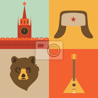 Vector illustration icon set of Russia: red square, hat, bear, music