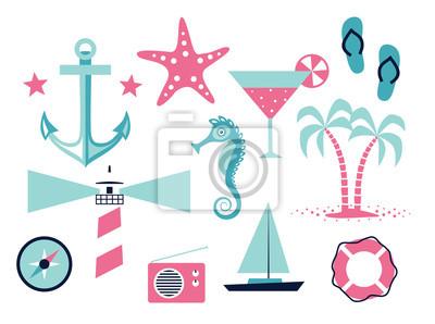 Vector illustration icon set of sea: anchor, starfish, cocktail, flip flops, compass, lighthouse, radio, sea horse, boat, lifeline