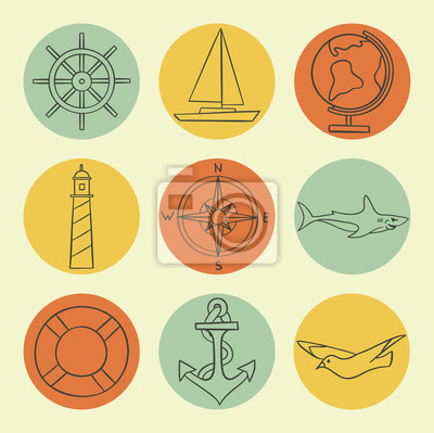 Vector illustration icon set of sea: lifeline, compass, globe, lighthouse, ship, seagull, steering wheel, anchor, shark