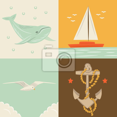 Vector illustration icon set of sea: whale, ship, seagull, anchor