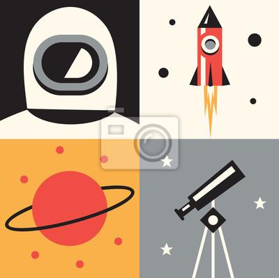 Vector illustration icon set of space: astronaut, rocket, planet, telescope