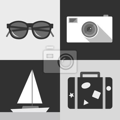 Vector illustration icon set of travel: sunglasses, photo camera, ship, suitcase