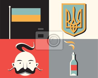 Vector illustration icon set of Ukraine: flag, symbol, man, revolution