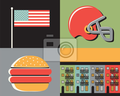 Vector illustration icon set of USA: flag, football, eagle, house