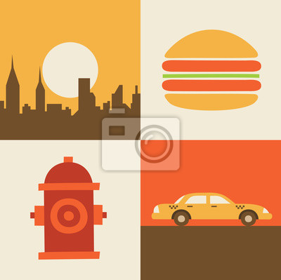 Vector illustration icon set of USA, New York, hamburger, car