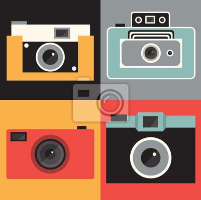 Vector illustration icon set of vintage retro photo camera