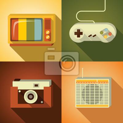 Vector illustration icon set of vintage: TV, joystick, photo camera, radio
