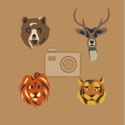 Vector illustration icon set of wild animals: bear, deer, lion, tiger