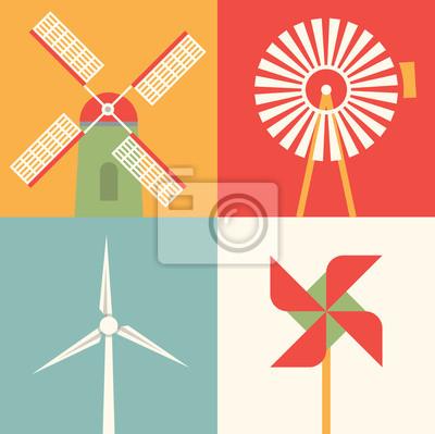 Vector illustration icon set of windmill