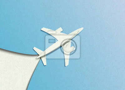 Vector illustration in minimal style of a plane flying in the sky. In the style of cut paper