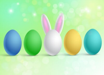 Vector illustration in minimal style of a set of traditional multi-colored Easter eggs. One egg has funny rabbit ears