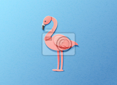 Vector illustration in minimal style of pink flamingo on blue background. Paper cut style