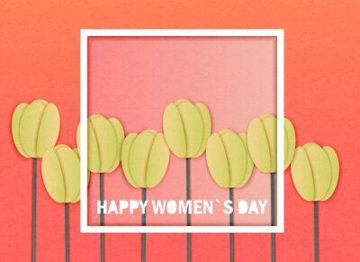 Vector illustration in the style of cut out paper with congratulations on March 8 or women's day in a frame and yellow spring tulips