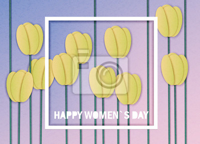 Vector illustration in the style of cut paper with congratulations on March 8 or women's day in a frame and yellow spring tulips