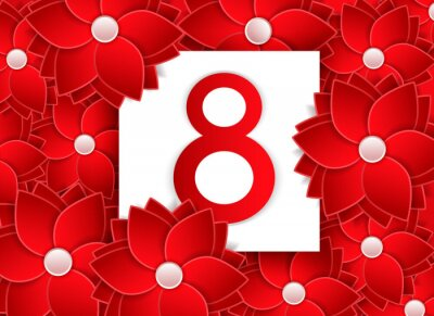 Vector illustration in the style of cut paper with congratulations on March 8 or Women's Day. The number 8 among the many red flowers