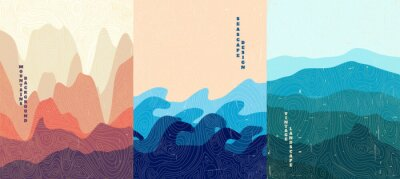 Sticker Vector illustration landscape. Wood surface texture. Hills, seascape, mountains. Japanese wave pattern. Mountain background. Asian style. Design for poster, book cover, web template, brochure.