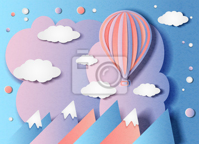 Vector illustration of a balloon flying over the mountains in minimal style. Paper cut