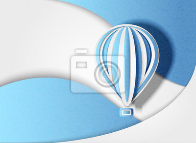 Vector illustration of a balloon in minimal style on an abstract background. Paper cut