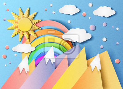 Vector illustration of a beautiful landscape with the sun, rainbow, clouds and mountains. In the style of cut paper
