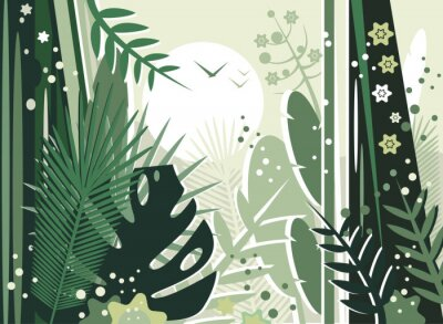 Vector illustration of a beautiful view of the rainforest on a sunny day. Many plants and flowers. Environment and ecology