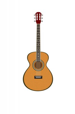 Vector illustration of a classic guitar isolated on white background. Popular musical instrument