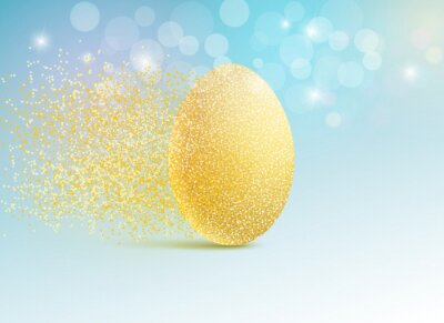Vector illustration of a golden egg in minimal style. Easter concept or concept of wealth and success