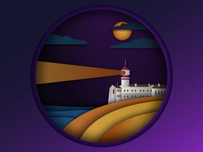 Vector illustration of a lighthouse or a beacon signaling into the distance at night paper cut style