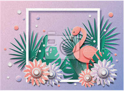 Vector illustration of a lot of flowers and plants and flamingos in the frame. Summer or vacation. Paper cut style