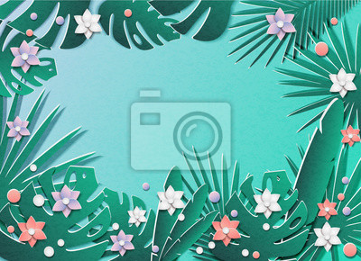 Vector illustration of a lot of tropical leaves and flowers. In the style of cut paper. In the middle is a place for text