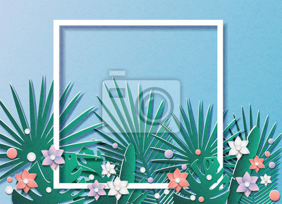 Vector illustration of a lot of tropical leaves and flowers. In the style of cut paper. In the middle of the frame for text